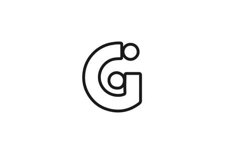 alphabet G letter logo icon with line. Black and white design for business and company Çizim