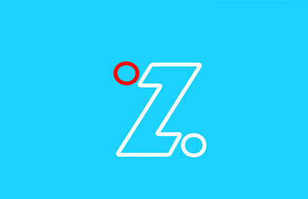 line alphabet Z letter logo icon design in red and white. Blue background color for company and business Çizim