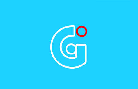 line alphabet G letter logo icon design in red and white. Blue background color for company and business