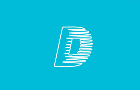 line wire D alphabet letter logo icon. White blue colour for business and company design Çizim