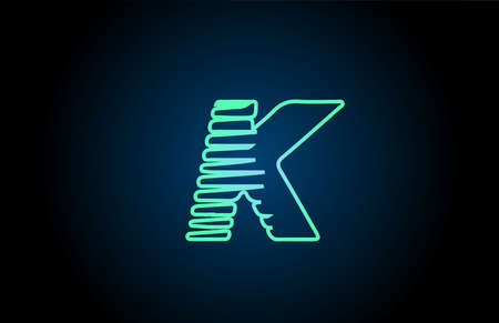 line K green blue alphabet letter logo icon. Glowing wire for business and company design