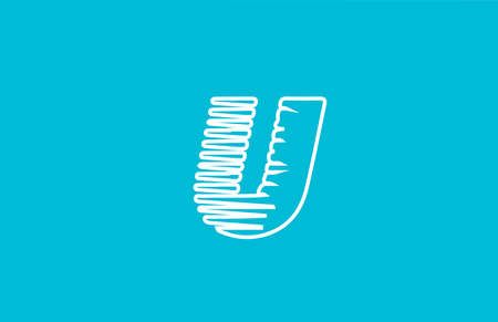 line wire U alphabet letter logo icon. White blue colour for business and company design Çizim