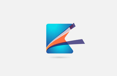 line orange blue K alphabet letter   icon for company. Creative design for corporate and business