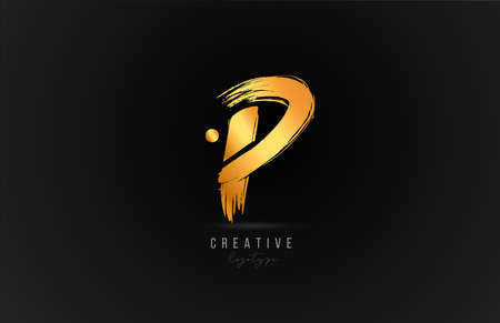 P alphabet letter   icon in gold or golden color. Luxury brand design for company and business
