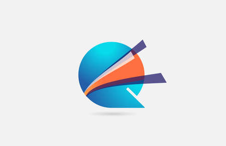 line orange blue Q alphabet letter icon for company. Creative design for corporate and business
