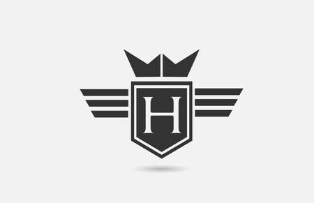 H alphabet letter icon for company in black and white. Creative badge design with king crown wings and shield for corporate and business