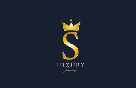 jewelry gold S alphabet letter icon. Creative design with king crown for luxury company and business