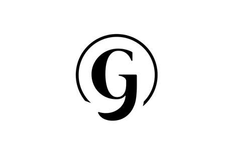 G alphabet letter icon in simple black and white color. Elegant and creative circle design for company and business