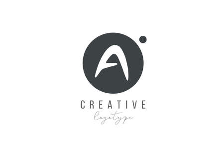 A alphabet letter icon in black and white color. Creative circle design for business and company