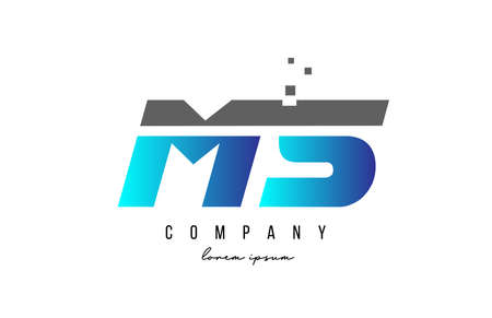 MS M S alphabet letter logo combination in blue and grey color. Creative icon design for business 向量圖像