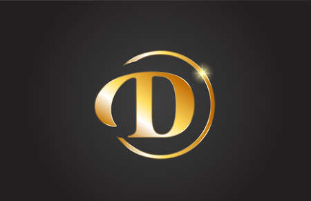 golden D alphabet letter logo icon in yellow and black color. Simple and creative gold circle design for company and business