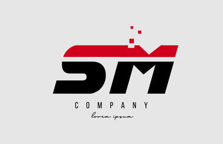 sm s m alphabet letter logo combination in red and black color. Creative icon design for business and company