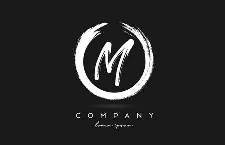 black and white M alphabet letter logo icon. Vintage grunge design for company and business with circle
