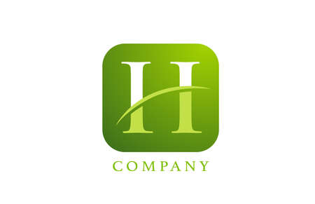 H alphabet letter logo for company and corporate in green colour. Rounded square design with swoosh. Can be used for an app or button icon