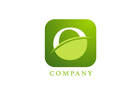 O alphabet letter logo for company and corporate in green colour. Rounded square design with swoosh. Can be used for an app or button icon
