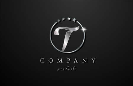 T silver metal alphabet letter logo for company and corporate. Metallic star design with circle. Can be used for a luxury brand