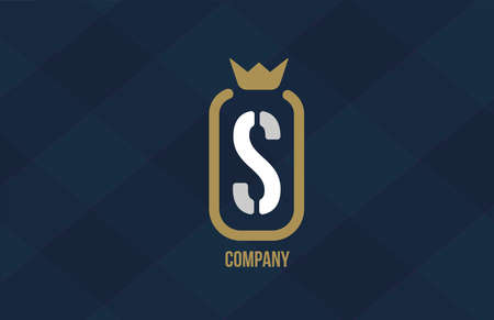 S king crown alphabet letter logo for company and corporate. Blue white design. Can be used as an icon for a luxury brand