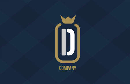 D king crown alphabet letter logo for company and corporate. Blue white design. Can be used as an icon for a luxury brand