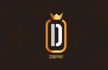D golden king crown alphabet letter logo for company and corporate. Gold luxury design. Can be used as an icon for a brand or product