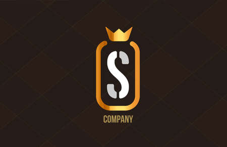 S golden king crown alphabet letter logo for company and corporate. Gold luxury design. Can be used as an icon for a brand or product