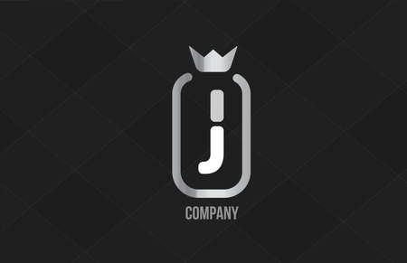 J silver king crown alphabet letter logo for company and corporate. Grey color luxury design. Can be used as an icon for a brand or product