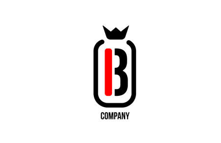 B black white crown alphabet letter logo for company and corporate. Red color luxury design. Can be used as an icon for a brand or product