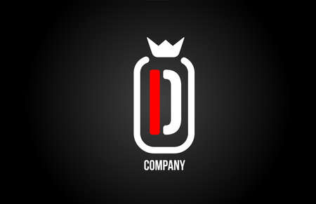 D alphabet letter logo for company and corporate in black red and white colors. Creative icon design with king crown. Can be used for a logotype or branding