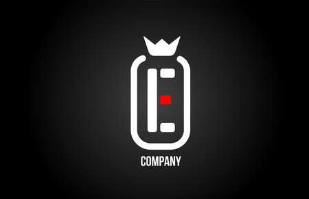 E alphabet letter logo for company and corporate in black red and white colors. Creative icon design with king crown. Can be used for a logotype or branding