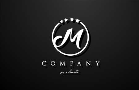 M alphabet letter logo for company and corporate in black and white color. Design with circle and star. Can be used for a luxury brand