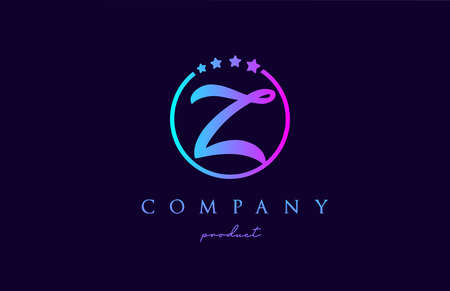 Z alphabet letter logo for company and corporate in blue pink colors. Design with circle and star. To be used for a luxury brand