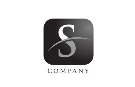 S black white alphabet letter logo for company and corporate. Rounded square design with swoosh. Can be used for an app or button icon