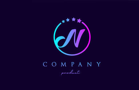 N alphabet letter logo for company and corporate in blue pink colors. Design with circle and star. To be used for a luxury brand