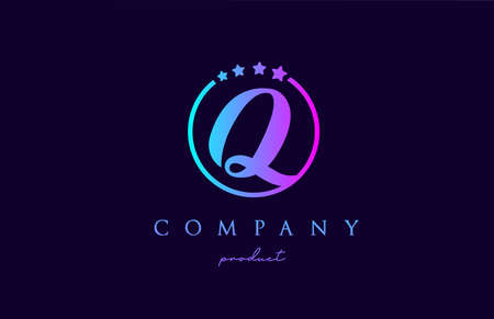 Q alphabet letter logo for company and corporate in blue pink colors. Design with circle and star. To be used for a luxury brand