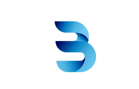 B creative blue gradient alphabet letter logo for branding and business. Design for lettering and corporate identity. Professional icon template
