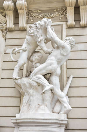 Vienna, Austria - May 29, 2019: Statues on the facade of Hofburg Imperial Palace