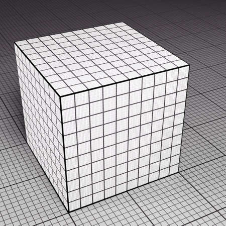 Grid paper cube on grid paper floor