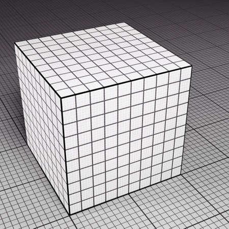 grid paper: Grid paper cube on grid paper floor