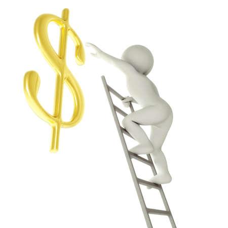 3D cartoon man on a ladder about to reach golden dollar sign photo