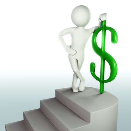 reached: 3D man successfully reached the top of the stairs with green dollar sign Stock Photo