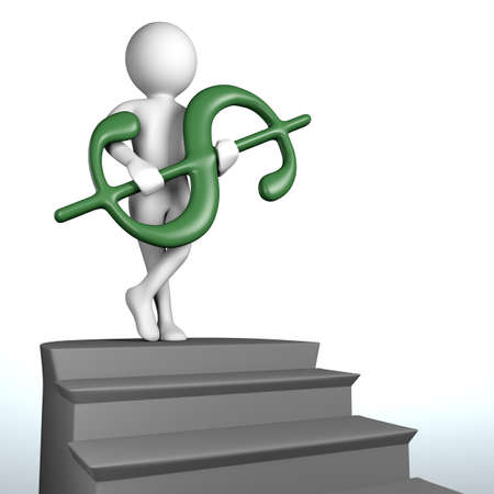3D man at the top of the stairs holding green dollar in hands photo
