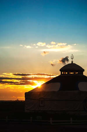 ger: Yurts under sunset