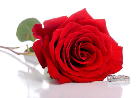A diamond ring and rose, isolated against a white background.