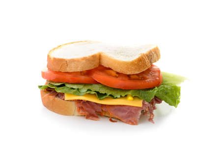 A corned beef sandwich with lettuce and tomatoes  Stock Photo - 14457569