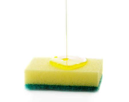 Liquid soap being poured on a dish sponge  Stock Photo - 14457568