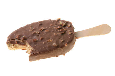 Chocolate ice cream stick isolated against a white background. photo
