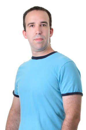 Half body shot of an average guy wearing a blue shirt, isolated against a white background.