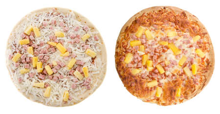 Comparison of a cooked and uncooked hawaiian pizza, isolated on a white background.