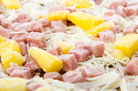 Closeup of a frozen hawaiian pizza with pineapple and ham. Stock Photo - 14842255