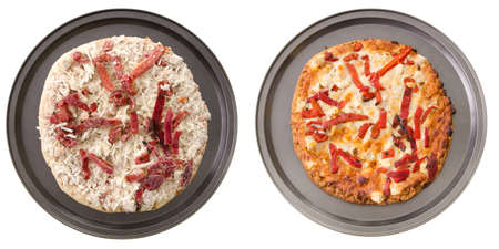 A comparison of two vegetarian pizzas, cooked and uncooked. Stock Photo - 14842258
