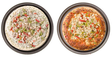 Comparison of a cooked and uncooked chicken pizza, isolated on a white background. Stock Photo - 14842257